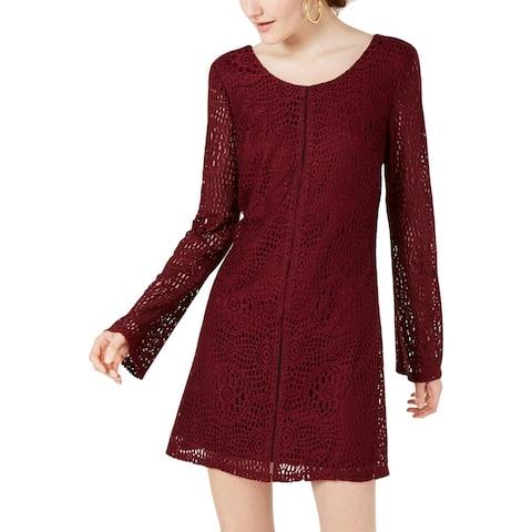 Speechless Womens Shift Dress Lace Overlay Scoop Neck - Burgundy