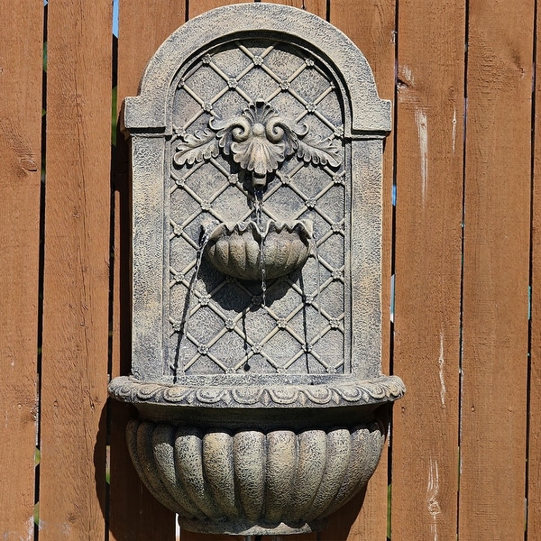 Sunnydaze Venetian Solar-Only Outdoor Wall Water Fountain - French Limestone - Solar Power
