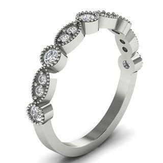 0 27 CT Antique Milgrain Stackable Round Diamond Wedding Band In 14KT
