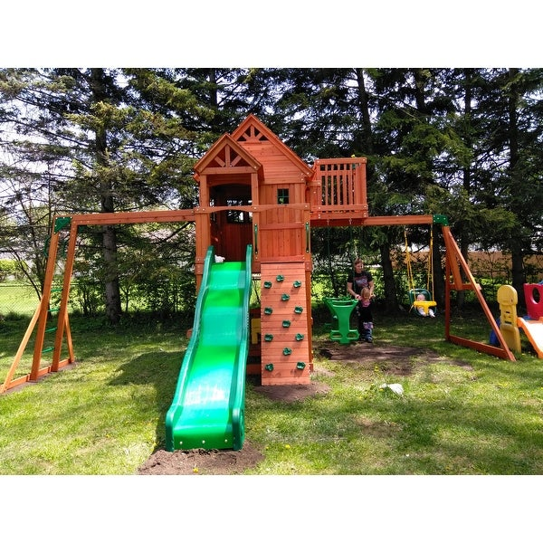 Backyard Discovery Skyfort Ii Brown All Cedar Swing Set Play Free Shipping Today 10754900