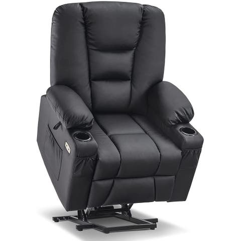 Mcombo Power Lift Recliner Chair with Massage and Heat for Elderly, Extended Footrest, Cup Holders, USB Ports, Faux Leather 7519
