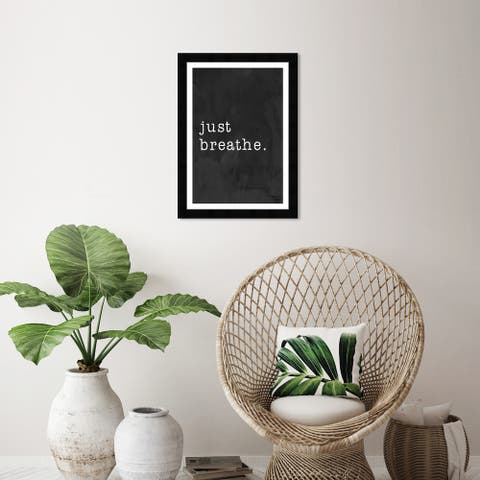 Wynwood Studio 'Just Breathe' Typography and Quotes Black Wall Art Framed Print
