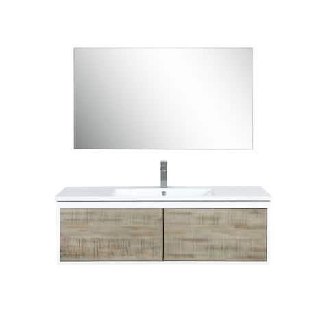 Lexora Scopi 48 inch Single Vanity, 43 inch frameless Mirror w/ Faucet