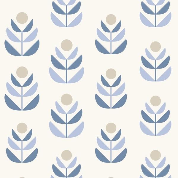 Brewster 2535-20617 Oslo Blue Geometric Tulip Wallpaper - N/A