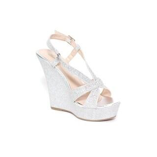 Glitter Slingback Wedge Sandal