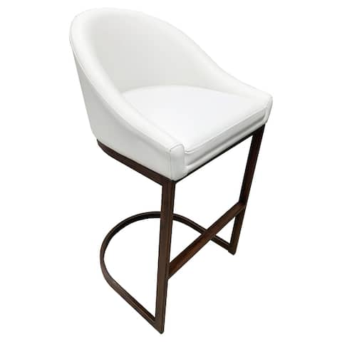 Suto Faux-Wood Iron Frame 26-inch Faux-Leather Sationary Bar Stool