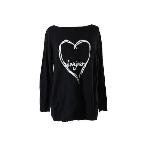 Charter Club Plus Size Black Bonjour Heart Graphic Sweater 0X