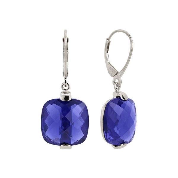 Zoccai 925 Amethyst Drop Earrings in Sterling Silver - Purple