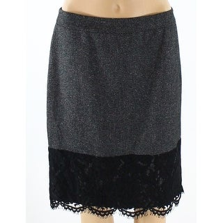 Vince Camuto NEW Gray Womens Size 8P Petite Lace Straight Pencil Skirt