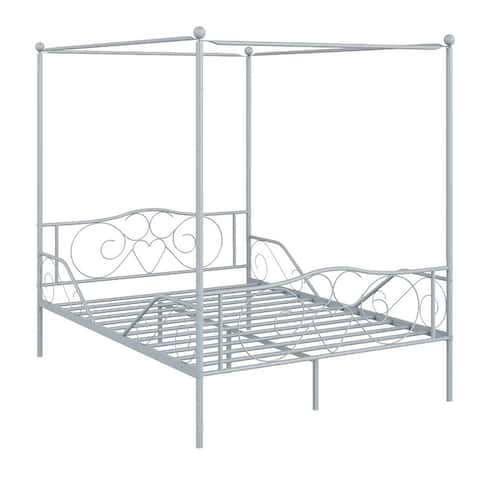 Costway Full Size Metal Canopy Bed Frame 4 Poster Steel Slats