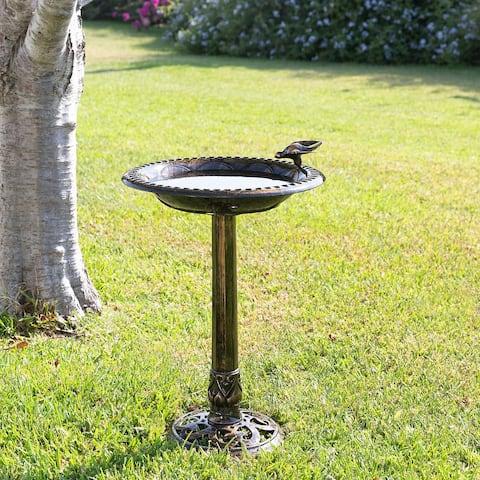 Alpine Birdbath Bronze w/ Bird Decoration, 26 Inch Tall