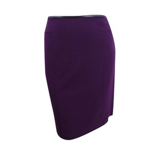Calvin Klein Women's Plus Faux-Leather-Trim Straight Skirt (16W, Aubergine) - Aubergine