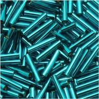 Toho Bugle Tube Beads Size 3 2x9mm Silver Lined Teal 10 Grams