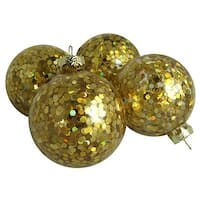 2.5 in. Flashy Holographic Gold Sequin Glass Ball Christmas