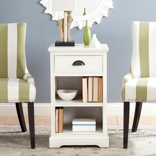 """Link to SAFAVIEH Griffin White Storage Side Table - 17.7"""" x 13.8"""" x 29.9"""" Similar Items in Living Room Furniture"""