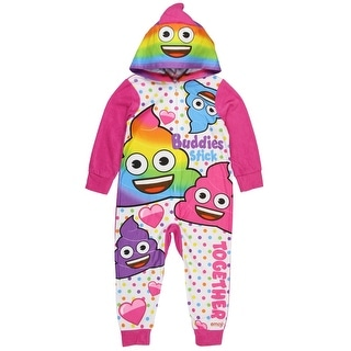 Emoji Girls' Buddies Stick Rainbow Poop Hooded Blanket Sleeper