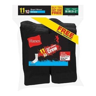 Hanes EZ-Sort Boys' Crew Socks 11-Pack (Includes 1 Free Bonus Pair)