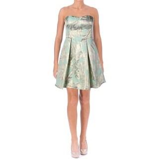 Aqua Womens Metallic Embellished Cocktail Dress