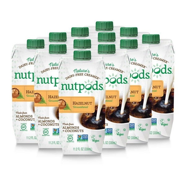 nutpods Dairy-Free Creamer Unsweetened (Hazelnut, 12-pack) - Whole30 Approved