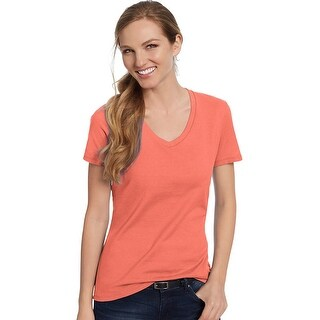 Hanes Women's Nano-T® V-Neck T-Shirt - Size - XS - Color - Vintage Orange