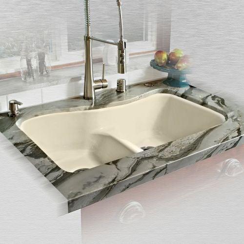 """Miseno MCI76-4UM-LD 33"""" Double Basin Undermount Cast Iron Kitchen Sink"""