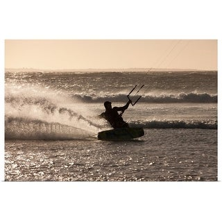 """""""Man windsurfing in waves"""" Poster Print"""