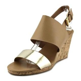 Calvin Klein Bibbi Women Open Toe Leather Wedge Sandal