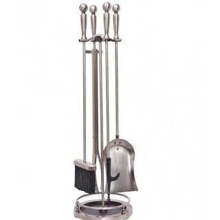 Homebasix VPD51443AS3L 5-Piece Fireplace Tool Set, Antique Silver