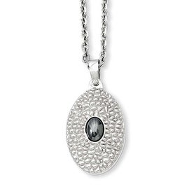 Stainless Steel Textured & Hemmatite 20in Necklace (2 mm) - 20 in