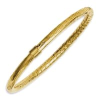 Chisel Stainless Steel Yellow IP-plated Textured & Polished Hollow Bangle