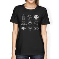 Skulls T-Shirt For Women Round Neck Cotton Black Horror Night Shirt