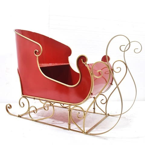 Medium Metal Holiday Sleigh Decoration in Antique Red