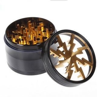 4 Pc Lightning Bolt Tobacco Herb Grinder with Bonus Scraper (Gold)
