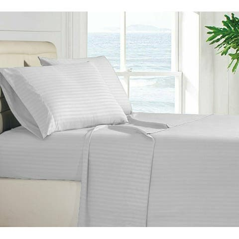 Striped Brushed Microfiber 4-piece Bed Sheet Set