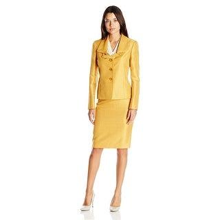 Le Suit Shimmer 3 Button Jacket Skirt Suit - 8