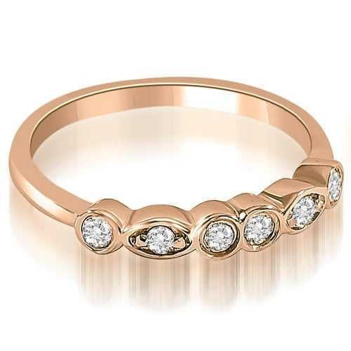 0.20 cttw. 14K Rose Gold Stylish Bezel Round Cut Diamond Wedding Ring