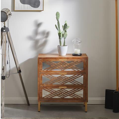 COZAYH 3-Drawer Mirror Fronts Accent Dresser