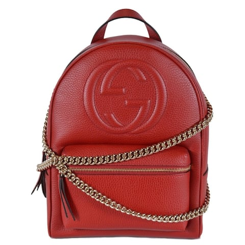 Gucci Women's Red Leather SOHO Chain Strap Small Backpack Purse Bag