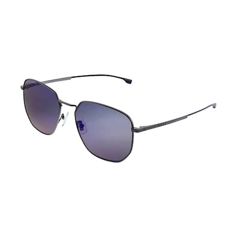 Hugo Boss BOSS 0992/F/S 8HT Unisex Grey Frame Blue Sky Mirror Lens Sunglasses