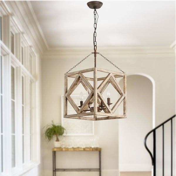 4-Light Rectangular Wood Candle Chandelier, Distressed White/Weathered Wood Island Light. Opens flyout.