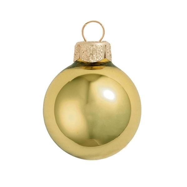 "40ct Shiny Yellow Sun Glass Ball Christmas Ornaments 1.5"" (40mm)"