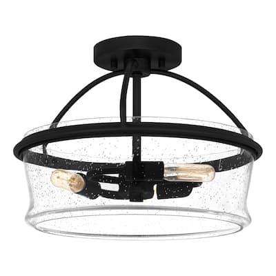 Ava 3-Light Matte Black Semi-Flush Mount - Matte Black