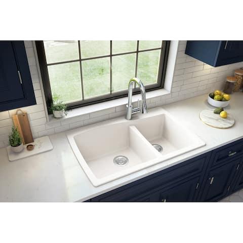 Karran Drop-In Quartz 60/40 Double Bowl Kitchen Sink