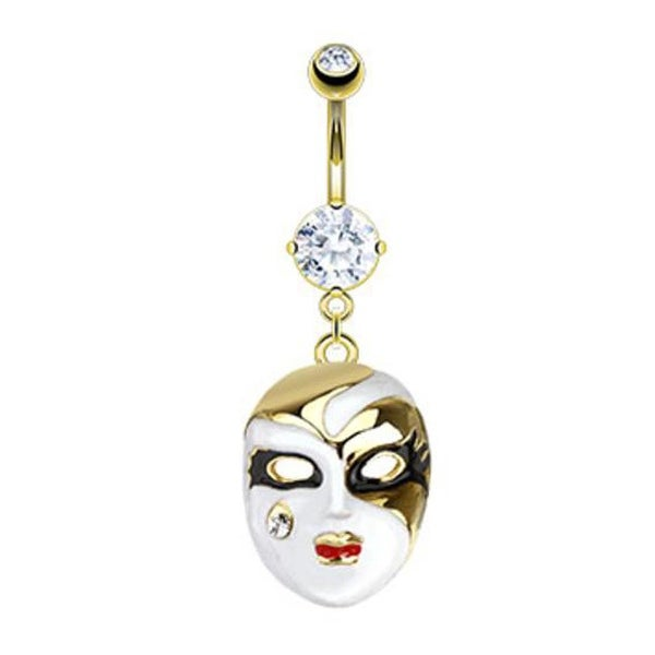 Gold Plated Stainless Steel Phantom of the Opera Mask with CZ Tear Navel Belly Button Ring