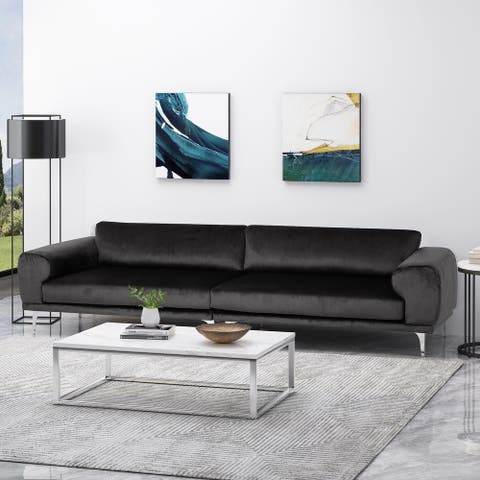 Croydon Modern Glam 4 Seater Velvet Sofa by Christopher Knight Home