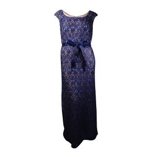 R&M Richards Women's Belted Sequined Lace Gown (18W, Navy/Taupe) - navy/taupe