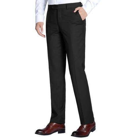 Men's Dress Pant Slim Fit Flat Front Suit Pant Formal Trouser for Men