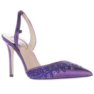 SJP Josephine Sling-Back Pointed Toe Heels - Purple Satin