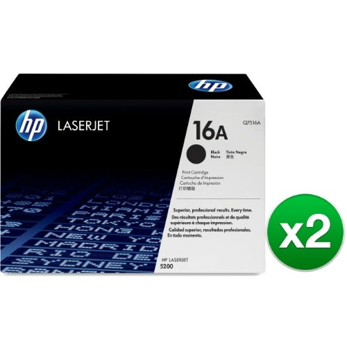 HP 16A Black Original LaserJet Toner Cartridge (Q7516A)(2-Pack)