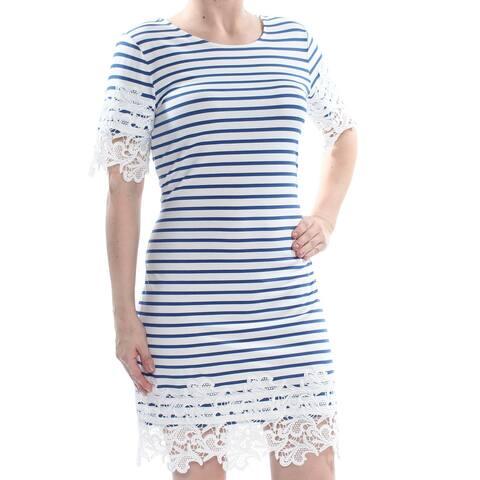 b2a8f512776 Tommy Hilfiger Womens Blue White Size XS Striped Lace-Trim T-Shirt Dress